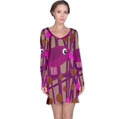 Cute magenta bird Long Sleeve Nightdress