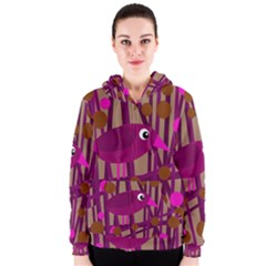 Cute magenta bird Women s Zipper Hoodie