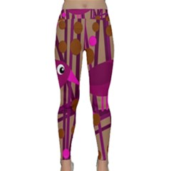 Cute magenta bird Yoga Leggings