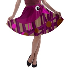 Cute magenta bird A-line Skater Skirt