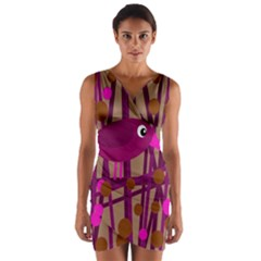 Cute magenta bird Wrap Front Bodycon Dress