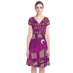 Cute magenta bird Short Sleeve Front Wrap Dress