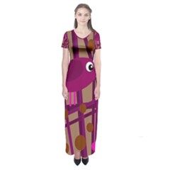 Cute Magenta Bird Short Sleeve Maxi Dress