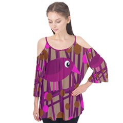 Cute Magenta Bird Flutter Tees