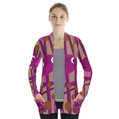 Cute magenta bird Women s Open Front Pockets Cardigan(P194)