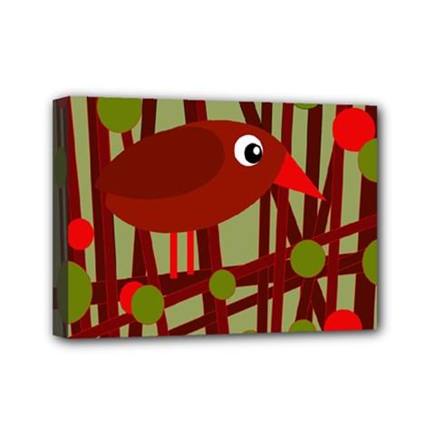 Red cute bird Mini Canvas 7  x 5