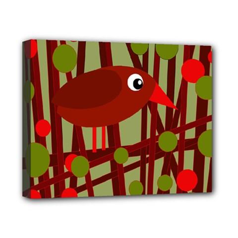 Red cute bird Canvas 10  x 8