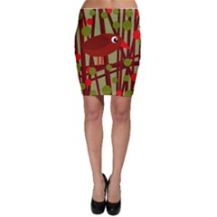 Red cute bird Bodycon Skirt