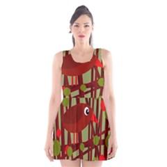 Red Cute Bird Scoop Neck Skater Dress