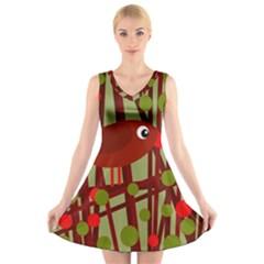 Red cute bird V-Neck Sleeveless Skater Dress