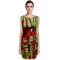 Red cute bird Classic Sleeveless Midi Dress