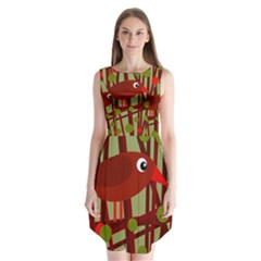 Red cute bird Sleeveless Chiffon Dress