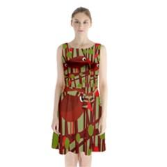 Red cute bird Sleeveless Waist Tie Dress