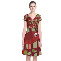 Red Cute Bird Short Sleeve Front Wrap Dress