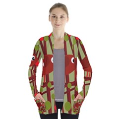 Red Cute Bird Women s Open Front Pockets Cardigan(p194)
