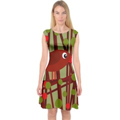 Red Cute Bird Capsleeve Midi Dress
