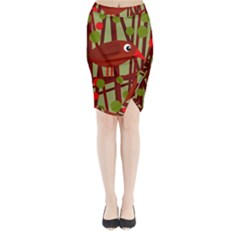 Red cute bird Midi Wrap Pencil Skirt