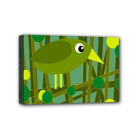 Cute green bird Mini Canvas 6  x 4