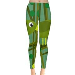 Cute green bird Leggings