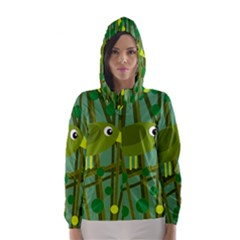 Cute green bird Hooded Wind Breaker (Women)