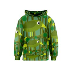 Cute green bird Kids  Pullover Hoodie