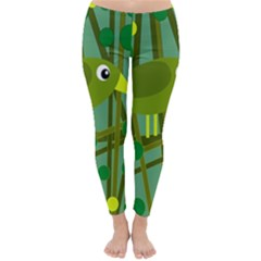 Cute green bird Winter Leggings