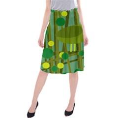 Cute green bird Midi Beach Skirt