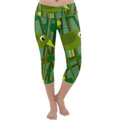 Cute Green Bird Capri Yoga Leggings