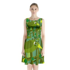 Cute Green Bird Sleeveless Waist Tie Dress