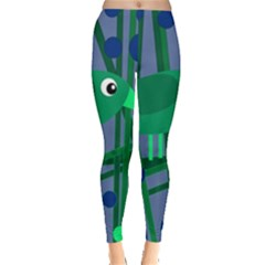 Green and blue bird Leggings