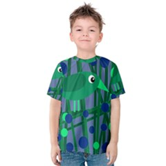 Green and blue bird Kid s Cotton Tee