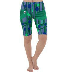 Green and blue bird Cropped Leggings