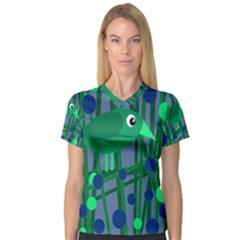 Green and blue bird Women s V-Neck Sport Mesh Tee
