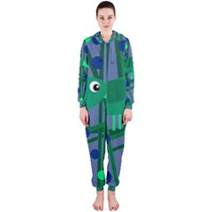 Green and blue bird Hooded Jumpsuit (Ladies)