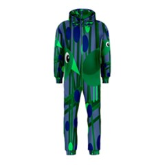 Green and blue bird Hooded Jumpsuit (Kids)