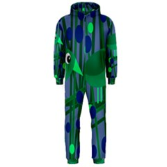 Green and blue bird Hooded Jumpsuit (Men)