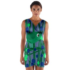 Green and blue bird Wrap Front Bodycon Dress