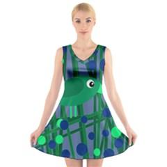 Green and blue bird V-Neck Sleeveless Skater Dress