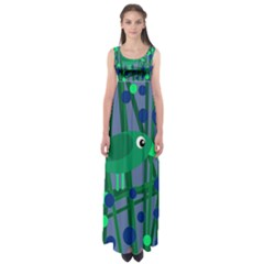 Green and blue bird Empire Waist Maxi Dress