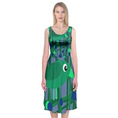 Green And Blue Bird Midi Sleeveless Dress