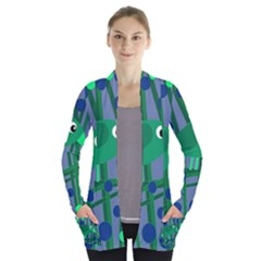 Green and blue bird Women s Open Front Pockets Cardigan(P194)