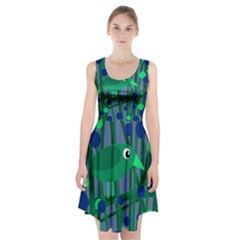 Green and blue bird Racerback Midi Dress