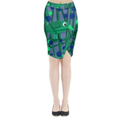 Green and blue bird Midi Wrap Pencil Skirt