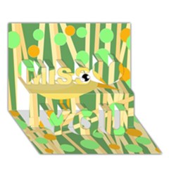 Yellow little bird Miss You 3D Greeting Card (7x5)