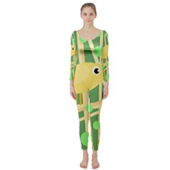 Yellow little bird Long Sleeve Catsuit
