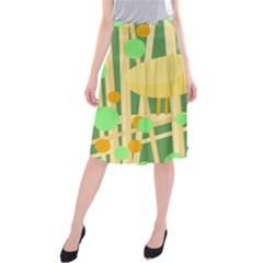 Yellow little bird Midi Beach Skirt