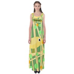 Yellow little bird Empire Waist Maxi Dress