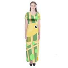 Yellow little bird Short Sleeve Maxi Dress