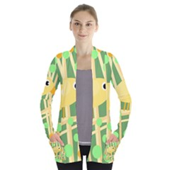 Yellow little bird Women s Open Front Pockets Cardigan(P194)