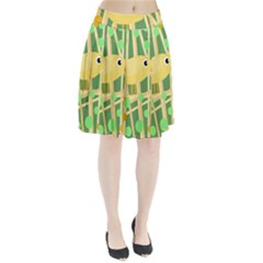 Yellow little bird Pleated Skirt
